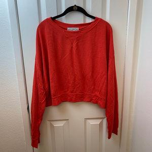 NWT Wildfox Red Long Sleeve Crop Sweatshirt. Sz L
